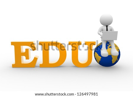 3d people - man, person with a laptop and earth globe. EDU - stock photo