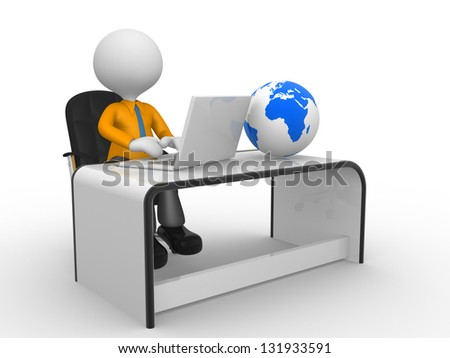 3d people - man,  person with a laptop at a office. Earth globe