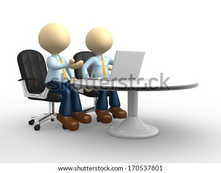 3d people - man, person with a laptop. Colleagues.