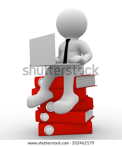 3d people - man, person with a laptop on pile folders. Businessman
