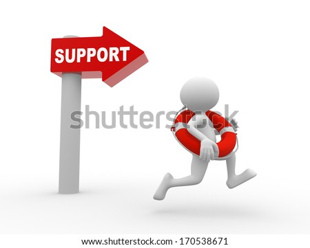 3d people - man, person with a life buoy. Support - stock photo
