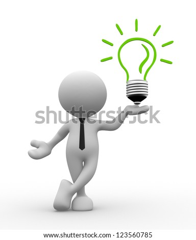 3d people - man, person with a light bulb. Energy efficiency - stock photo