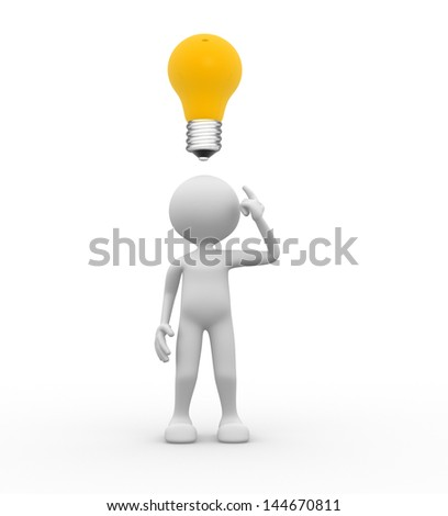 3 D People Man Person Light Bulb Stock Illustration 144670811