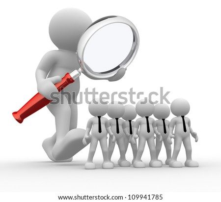 3d people - man, person with a magnifier. Audit of the business - stock photo