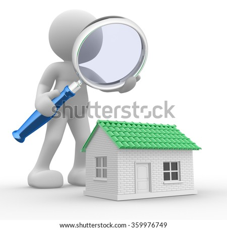3d people - man,  person with a  magnifying glass and a house. Search new house - stock photo