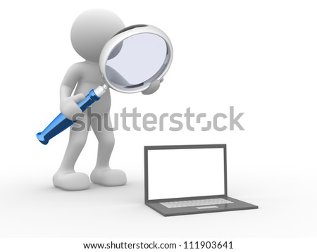 3d people - man, person with a magnifying glass and a laptop. Concept of search