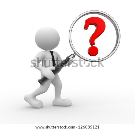 3d people - man, person with a magnifying glass and a question mark. The important question - stock photo