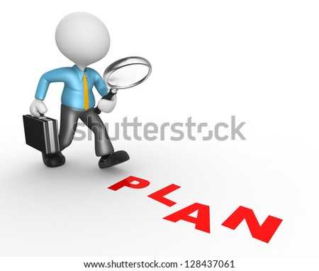 "3d people - man, person with a magnifying glass and word ""plan"". Businessman - stock photo"