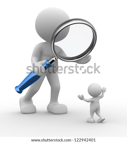 3d people - man, person with a magnifying glass. Audit - stock photo