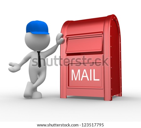 3d people - man, person with a mailbox ( postbox letterbox). Postman - stock photo