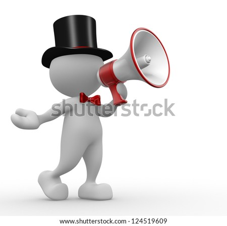 3d people - man, person with a megaphone - stock photo