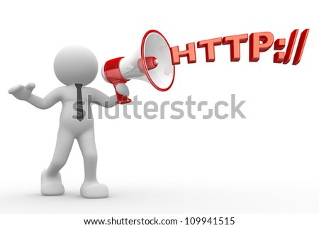 """3d people - man, person with a megaphone and word """"http"""". Communication concept - stock photo"""