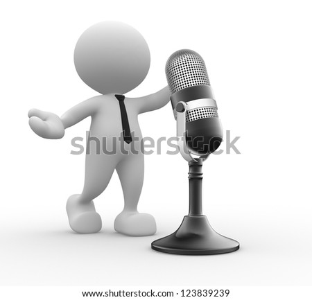 3d people - man, person with a old microphone