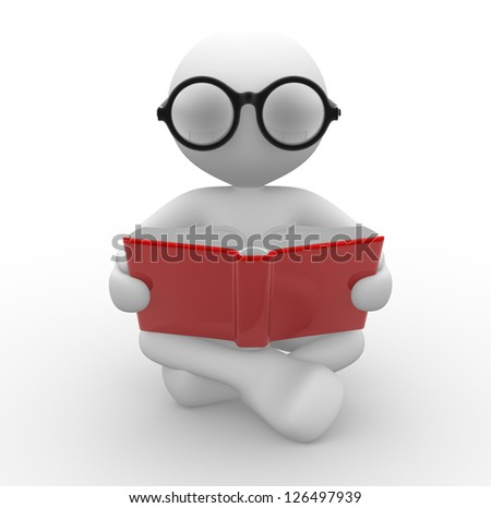 3d people - man, person with a open book. Education concept . Nerd. - stock photo