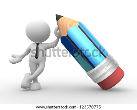 3d people - man, person with a pencil - stock photo