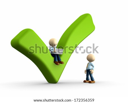 3d people - man, person with a positive symbol and a laptop - stock photo