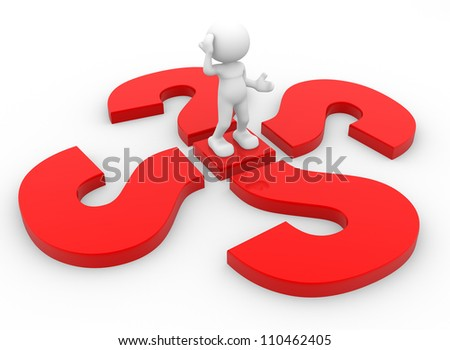 3d people - man, person with a question marks. - stock photo