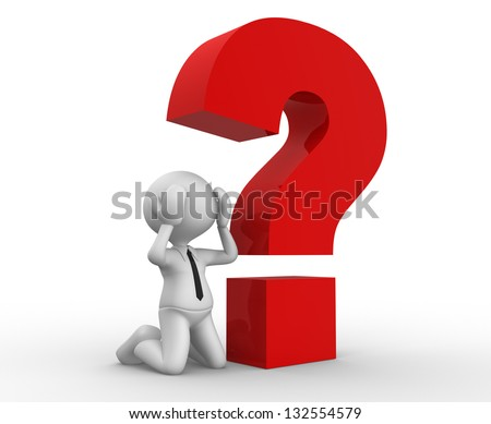 3d people - man, person with a red question mark. Stressed - stock photo