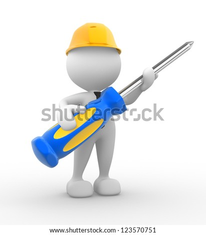 3d people - man, person with a screwdriver. - stock photo