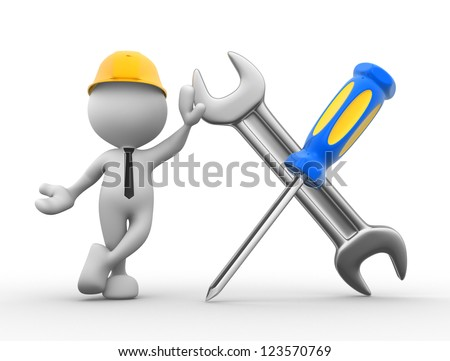 3d people - man, person with a screwdriver and a wrench