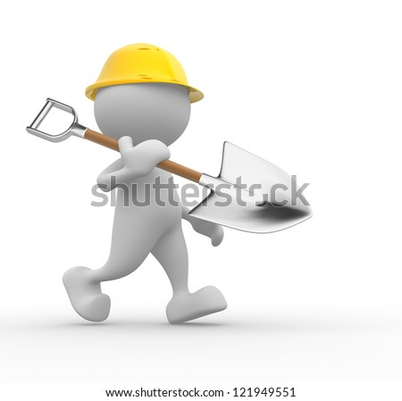 3d people - man, person with a spade