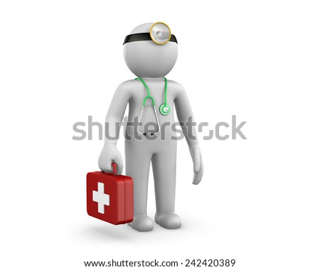 3d people - man, person with a stethoscope. Doctor - stock photo