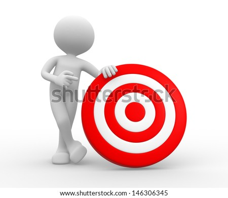 3d people - man, person with a target. - stock photo