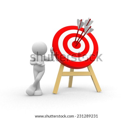3d people - man, person with a target and arrows  - stock photo