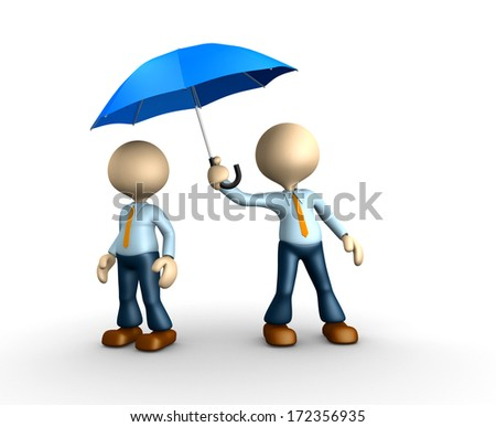 3d people - man, person with a umbrella - stock photo