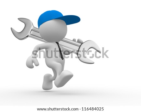 3d people - man, person with a wrench. Businessman and builder - stock photo