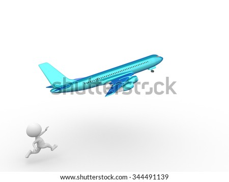 3d people - man, person with an airplane - stock photo