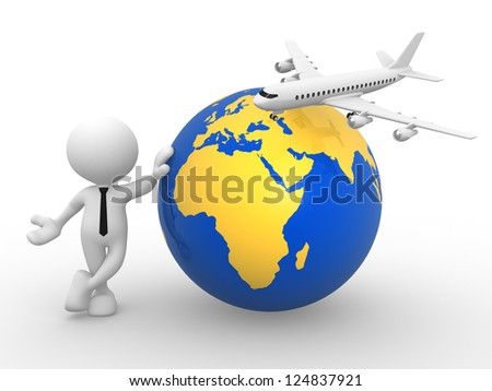 3d people - man, person with an airplane and earth globe. Concept of travel. - stock photo