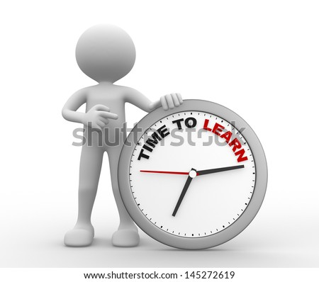 3d people - man, person with an Alarm clock. Time to learn concept. - stock photo