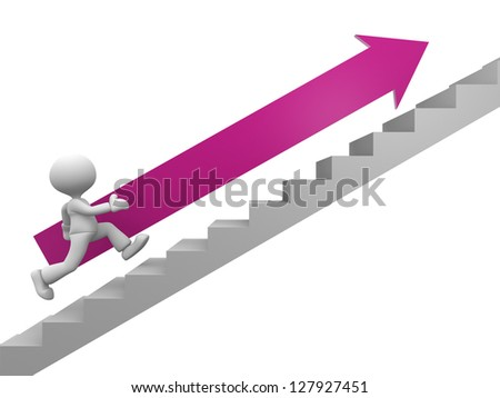 3d people - man, person with an arrow running on stairs. To success - stock photo