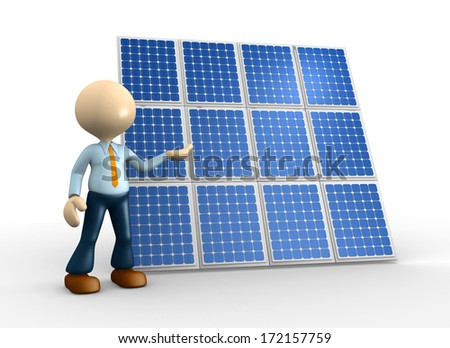 3d people - man, person with and a solar panel  - stock photo