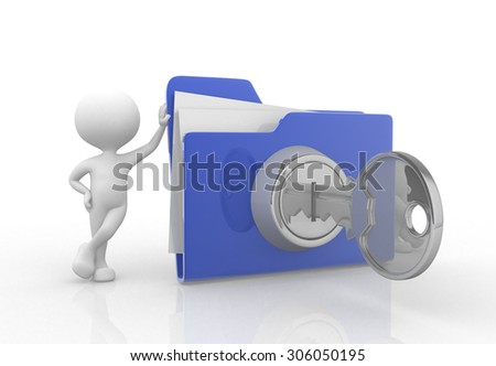 3d people - man , person with big folder. Concept of security - stock photo