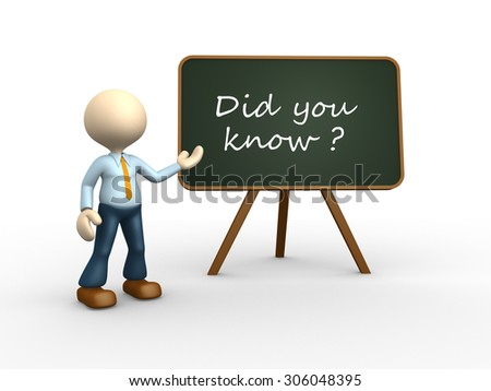 3d people - man , person with blackboard. Did you know? - stock photo