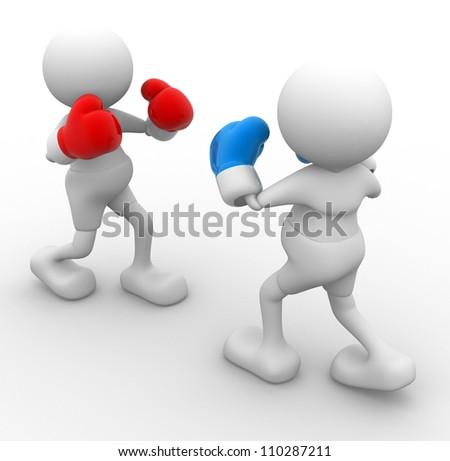 3d people - man, person with boxing gloves. Boxer - stock photo