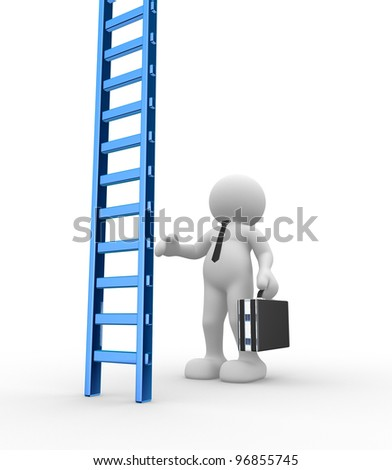 3d people - man, person with briefcase and a ladder. Businessman