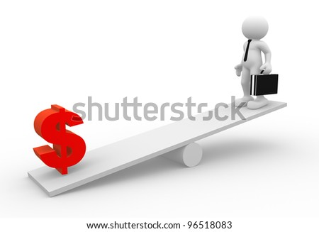 3d people - man, person with briefcase and tie ( businessman) in balance with dollar sings - stock photo
