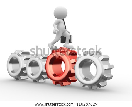 3d people - man, person  with briefcase go on with gear . Businessman - stock photo