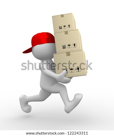 3d people - man, person with carton boxes ( packages) . Postman - stock photo