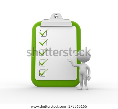 3d people - man , person with clipboard and checklist.  - stock photo