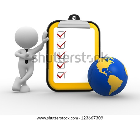 3d people - man, person with clipboard and earth globe - stock photo