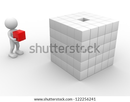 3d people - man, person with cubes - stock photo