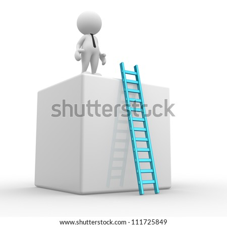 3d people - man, person with cubes  and a ladder. - stock photo