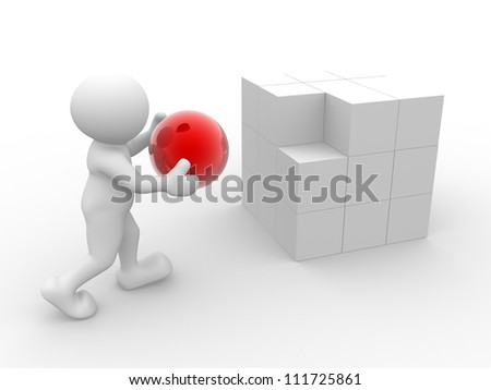 3d people - man, person with cubes  and a sphere - stock photo