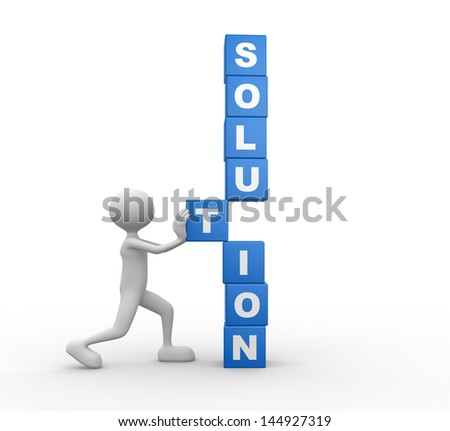 3d people - man, person with cubes and word SOLUTION. Solution concept - stock photo