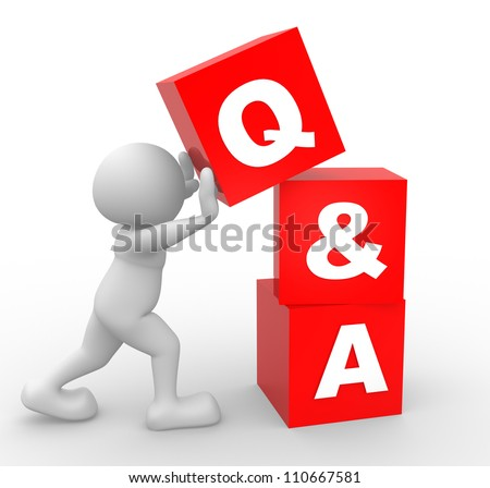 3d people - man, person with  cubes. Question and answer  - Q&A - stock photo