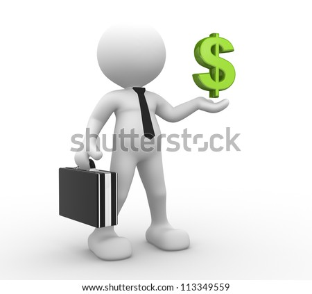 3d people - man, person with dollar sign. Businessman
